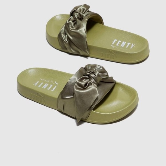 brand new 5867b 34150 Fenty Satin Bow Slides